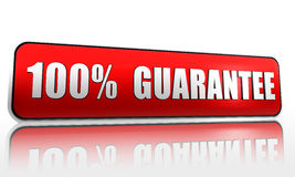 100 percent guarantee. Red 3d banner with text stock illustration