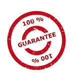 100 percent guarantee stamp. In red circle, isolated on white background Stock Photo