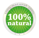 100 percent natural. Product label Stock Photography