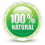 100 percent natural. 100 percent web push button icon Stock Photos