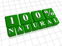 100 percent natural in 3d green cubes. 100 percent natural  text in 3d green cubes Stock Image