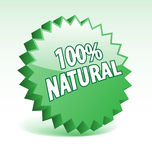 100 percent natural badge. 3D green vector badge for promotion, marketing, advertisement Royalty Free Stock Image