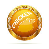 100 percent natural chicken badge Stock Photos