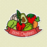 100 percent organic. Over dotted background vector illustration vector illustration