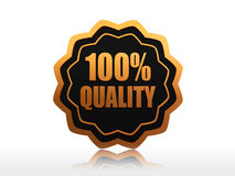 100 percent quality. 3d black label with golden text and elements Stock Photography