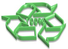 100 percent recyclable. 3d green recycling icon with hundred percent symbol in the center Royalty Free Stock Image