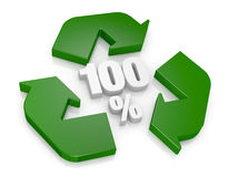 100 percent recycling concept. Top view of a recycling symbol with the number 100 and the percent symbol at the center (3d render Royalty Free Stock Photos