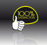 100 percent satisfaction. Green and black 100 percent satisfaction with reflection with thumb up vector illustration