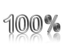 100 percent  in silver. 100 percent in 3d isolated silver numbers with reflection Stock Image