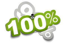 100 percent sticker. One hundred percent sticker fixed onto a ninety sticker by a thumbtack, color is green over a white background Stock Photo