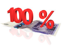 100 % percentage. 3d rendered 100 % percentage on a twenty pounds banknote stock illustration