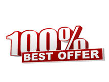100 percentages best offer red white banner - letters and block Royalty Free Stock Images