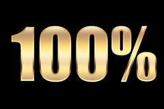 100 percents. 100% sign in gold, for business concepts Stock Illustration