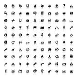 100 perfect icons. Set of 100 perfect designer icons for web, business, media and leisure. Main shape, highlights and reflection are in separate layers stock illustration