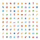 100 perfect icons. Set of 100 perfect designer icons for web, business, media and leisure. Main shape, highlights and reflection are in separate layers vector illustration