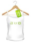 100 persent natural clothes. With green tag stock illustration