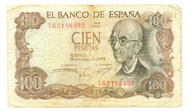 100 peseta bill of Spain, 1970 Stock Image