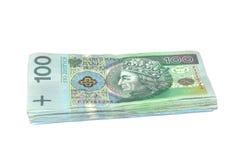 100 pieniądze pln Poland połysk obraz stock