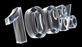 100 por cento no vidro (3D) Foto de Stock Royalty Free