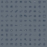 100 professional grey web icon set. A set of 100 embossed style web icons for all your internet, interface or app needs Stock Image