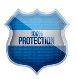 100% Protection concept. Illustration design over a white background stock illustration