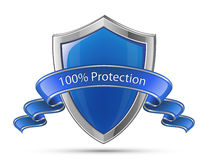 100% Protection. Shield symbol. 100% Protection concept. Vector illustration of blue glossy shield Royalty Free Stock Photo