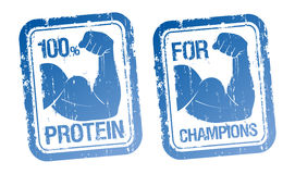 100 % Protein, For Champions stamps set. 100 % Protein, For Champions blue stamps set Stock Photos