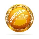 100-Prozent-natürliches Huhnabzeichen Stockfotos
