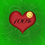 100% Pure Love. Valentine day illustration with heart swirls and writings Royalty Free Stock Photos