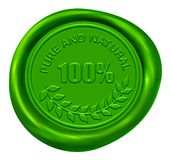 100% Pure & Natural Wax Seal. 100% Pure & Natural Green Wax Seal Royalty Free Stock Photos