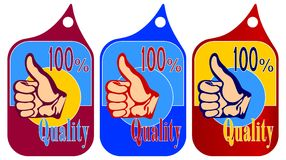 100% quality. Isolated objects.Stickers.Characters.Stickers or tallies for commodities.Complete set from three standards of different color Royalty Free Stock Image
