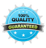 100% Quality. Blue 100& Quality Button on white background Royalty Free Stock Photography