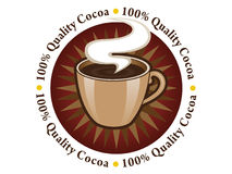 100% Quality Cocoa seal. Seal with the motive cup of hot cocoa and the text 100% quality cocoa, made for supporting cocoa products Royalty Free Stock Photo