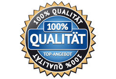 100% Quality Label. A label with the German word Qualität (Quality Stock Photos