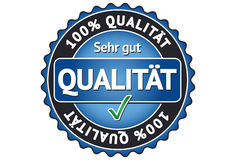 100% Quality Label. A label with the german word for Quality: Qualität Stock Images