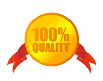 100% quality medal. On white Royalty Free Stock Images