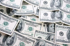 100 rachunków dolarowy pieniądze stos Zdjęcia Royalty Free