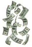 100 rachunków spadać pieniądze Zdjęcie Royalty Free