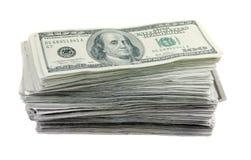 100 rachunków dolarowa sterta Fotografia Royalty Free