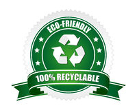 100% recyclable sign. A green coloured 100% recyclable sign Stock Photo