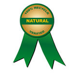 100% recycle natural verified (vector). Medal: 100% recycle natural verified Royalty Free Stock Image