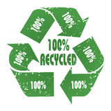 100% Recycled. Three-arrow green 100% Recycled symbol with grunge effect - recycle concept Royalty Free Stock Images
