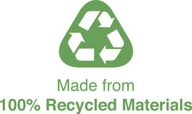 100% Recycled. A logo for Recycled Materials Stock Photo