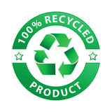 100% recycled product label (vector). 100% recycled product label, isolated on white stock illustration