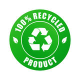 100 % recycled product (vector). 100 % recycled product label isolated on a white background Royalty Free Stock Photography