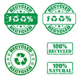 100% recycled stamps. Collection of grunge recycled stamps Vector Illustration