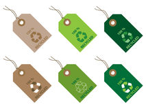 100% recycled tags. Set of six 100% recycled tags stock illustration