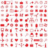 100 red icons. Collection of 100 web red icons stock illustration