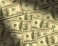 $100 rekeningen die vlakte leggen Stock Foto's