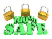 100% Safe. An illustration of a 100% safe stencil 3D lettering with pad locks Royalty Free Stock Photos